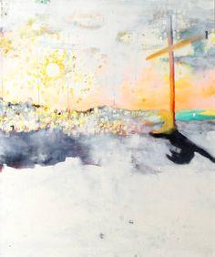 """""""Schlafendes Schwein mit Kreuz (sleeping pig with cross)"""" by #JonasHofrichter, 2014. Oil and acrylic on canvas, 120 x 100 cm"""