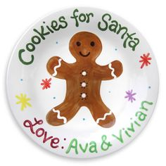 Christmas Plate - Gingerbread Man Cokies for Santa Plate - Unique Christmas Gift - Hand Painted Christmas Plates, Christmas Scenes, Christmas Art, Christmas Holidays, Christmas Ideas, Christmas Decorations, Winter Holidays, Christmas Ornament, Christmas Things