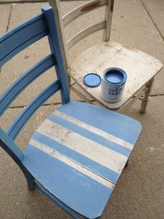 French shabby... using Annie Sloan Greek Blue and the original chair color. LOVE.