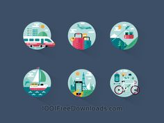 Free Vectors: Travel icon pack | Cities