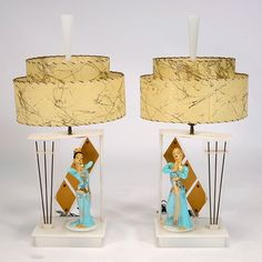 Decorative Kilns - Ceramic Mambo Dancer Figures as Spinners on Moss Lamps