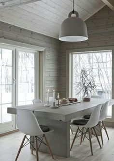 Home Decor Furniture Ideas. Perfect solutions in the case of home improvment. home improvement project ideas. Scandinavian Interior, Scandinavian Style, Interior Architecture, Interior Design, Interior Stylist, Modern Cottage, Dining Room Design, Dining Rooms, Log Homes