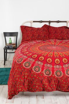 Im seriously IN LOVE with this bed spread it would go perfectly with yellow walls to bring out the accents in the comforter! I want I want!! Tapestry Medallion Duvet Cover #UrbanOutfitters