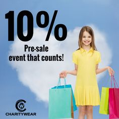 Get 10% off our pre-sale event.  Bamboo organic cotton for you and donation for charities... a win-win. Visit mycharitywear.com/