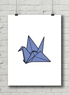 Origami Crane Print / Digital Print / Printable Art by OlaHolaHola