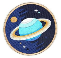 Galaxy Planet Decorative Embroidered Sew or Iron-on Backing Patch