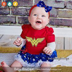 Wonder Woman Wonder Girl Super Hero Red by BritishBabyBoutique