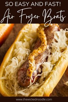 Even if you're a die-hard brats-on-the-grill person, you won't believe how good these brats in the air fryer are! Air fryer brats are juicy, have amazing flavor, and can be made in just 17 minutes from start to finish! Brats Recipes, Traeger Recipes, Barbecue Recipes, Smoker Recipes, Bbq, Brats And Sauerkraut, Crispy Baked Potato Wedges, Smoked Mac And Cheese, Bratwurst Sausage
