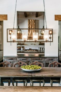 Look How Buffet Table Separates The Space. Farmhouse Interior Design Ideas  · Dining Room ...