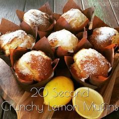 Thermotwinning: 20 Second Crunchy Lemon Muffins thermomix Muffin Recipes, Cake Recipes, Dessert Recipes, Bellini Recipe, Thermomix Desserts, Lemon Recipes Thermomix, Lemon Recipes Baking, Simple Muffin Recipe, Lemon Muffins