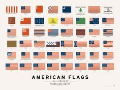 Early flags for the United States of America. Even Betsy Ross's flag wasn't the first. Very interesting!
