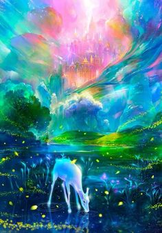 Fantasy art works: Fantasy paintings have been in existence for many centuries. Fantasy Art Landscapes, Fantasy Paintings, Fantasy Landscape, Fantasy Artwork, Landscape Art, Fantasy Books, Anime Kunst, Anime Art, Nature Iphone Wallpaper