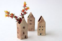 Little House Vase  Rustic Garden Cottage  Makeup by BackBayPottery