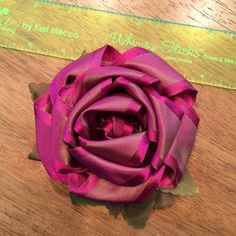 Whimsy Stick Rose made in a two-tone taffeta ribbon. Karimeaway.com Love all of Kari Mecca's things so creative