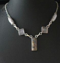 4088c0ab9cf8 Hot Fashion Dendrite Opal Biwa Pearl Rose Quartz 925 Silver Plated Necklace  E93. JoyasCollar De ...