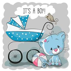 Illustration of Greeting card it's a boy with baby carriage and dog vector art, clipart and stock vectors. Baby Design, Baby Announcement Cards, Baby Painting, Baby Shawer, Baby Carriage, Baby Cards, Emoji, Cute Babies, Cute Pictures