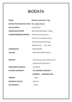 Image Result For Marriage Biodata Format Download Word Format
