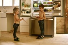 Kitchen: Cute Two Boys Without Clothes Brown Hair Friend In The Kitchen In Front Of Refrigerator With Watermelon Strawberry Bottle Of Water:...