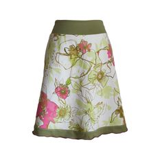 """Stretch Cotton Vintage Floral Print A-line Skirt with Ruffle Detail, in Pink and Green, """"In Bloom"""" Skirt by Melanie Grace Designs"""