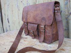 Leather Satchel / Messenger / Laptop Bag - Mens - Handmade Vintage Retro Look