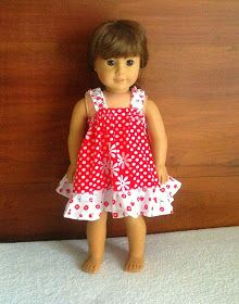 Sewing Patterns for Girls Dresses and Skirts: Easy Sundress Sewing Pattern for American Dolls. Sewing Pattern Dress for 18-inch Dolls, Free Pattern.