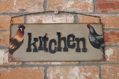 rooster and chicken decorations for kitchen | Rooster and Hen Kitchen Sign...Metal..Handmade...Collector