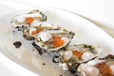 Jarrett Bay Oysters: Okinawan sweet potato vinegar & caviar cream
