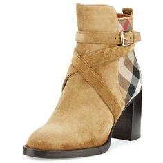 Burberry Vaughan Check Suede 70Mm Bootie, Sandstone (2.560 BRL) ❤ liked on  Polyvore
