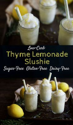 This refreshing lemonade slushie is scented with thyme.  Perfect for a hot day!  Best of all, it's low-carb, gluten-free, dairy-free and sugar-free.  It works for everyone including those on a ketogenic diet.