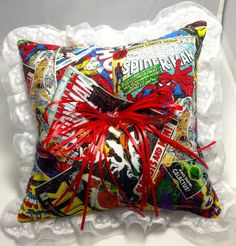 Custom Comic book prom or wedding Ring Bearer Pillow by 2Marys