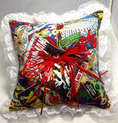Ring Bearer Pillow comicbook weddings | Custom Marvel Avengers Comic book prom or wedding Ring Bearer Pillow