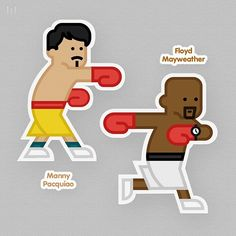 Mayweather vs Pacquiao #mayweather #pacquiao #pictogram #illustration #meanimize #designs #illust #graphics #graphicdesign #stickers #boxing #character #characterdesign
