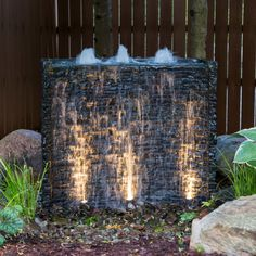 Aquascape Stacked Slate Spillway Wall Water Feature Image 2 of 3 Modern Water Feature, Outdoor Water Features, Backyard Water Feature, Water Features In The Garden, Diy Water Feature, Wall Water Features, Water Falls Backyard, Backyard Waterfalls, Ponds Backyard