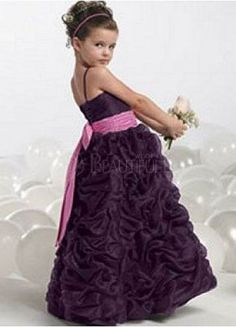 Purple Satin Spaghetti Straps Pleats Flower Girl Dress #wedding www.BlueRainbowDesign.com