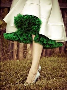 Colored petticoats are part of the fun of tea length wedding dresses! Love this rich emerald!