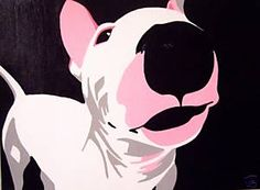 HCA English bull terrier PINK WINK dog modern PAINTING | eBay