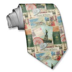 Vintage Travel stamps and postcards necktie