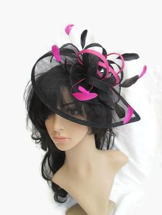 Stunning Black & Flamingo Pink  Fascinator ..Sinamay loops and coque Feathers #design #etsyretwt