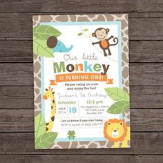 A modern and jungle design perfect for a summer birthday party. Wording, fonts and colors can be customized to match your shower.    This