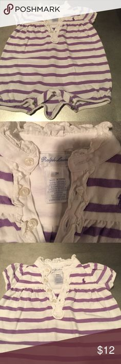 RL onesie. White with purple strips. RL onesie with snaps at crotch. Only worn a few times and no stains. Ralph Lauren One Pieces