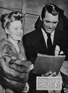 Irene Dunne & Cary Grant at USO benefit in Hollywood Bowl.