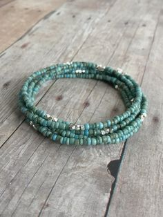 Handmade Turquoise Bead Necklace or Multi Wrap Bracelet / Sterling Silver Tiny Seed Bead Jewelry / Hill Tribe Silver Jewelry