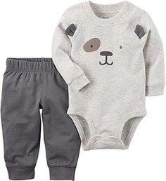Carters Baby Boys Bear 3D Ear Bodysuit Set 9 Months Heather grey
