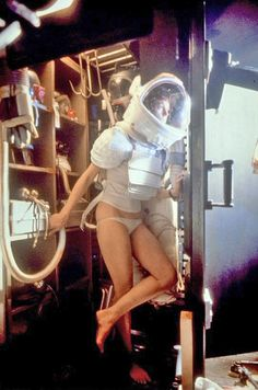 Sigourney Weaver on the set of Alien.