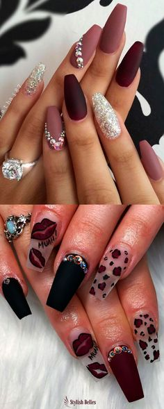 Nails The Best Nail Trends for Cute Fall Manicure Sexy Nails, Cute Nails, Pretty Nails, Maroon Nail Designs, Split Nails, Maroon Nails, Acrylic Nails Maroon, Fall Manicure, Nagellack Trends