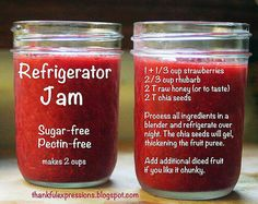 Refrigerator Jam: No pectin, no canning, no refined sugar or artificial sweeteners.Strawberry-Rhubarb Refrigerator Jam: No pectin, no canning, no refined sugar or artificial sweeteners. Refrigerator Jam, Refrigerator Strawberry Jam, Strawberry Rhubarb Jam, Strawberry Jelly, Sugar Free Strawberry Jam, Rhubarb Recipes Sugar Free, Healthy Rhubarb Recipes, Strawberry Spread Recipe, Raspberry Jam No Pectin