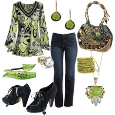 Tunic shirt, jeans and accessories in green and black with blue accents #clothes