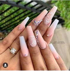 54 Awesome Acrylic Coffin Nails Design Ideas For Fall - Coffin & Stiletto Na . - 54 Awesome Acrylic Coffin Nails Design Ideas For Fall – Coffin & Stiletto Nails Design – - Glam Nails, Bling Nails, Nude Nails, My Nails, Rock Nails, Glitter Nails, Gorgeous Nails, Pretty Nails, Coffin Nails Designs Summer