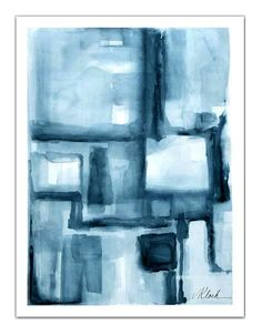 Art large blue gray watercolor modern abstract by Victoria Kloch