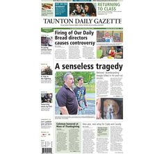 The front page of the Taunton Daily Gazette for Wednesday, Aug. 27, 2014.